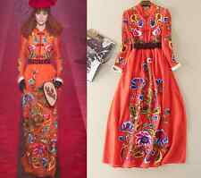 2017 Occident runway Modern Vintage embroidery bead makings high-end dress SMLXL