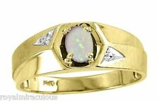 Mens Genuine Color Stone Ring Sterling Silver or Gold Plated - October Opal