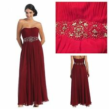 MAY QUEEN COUTURE JEWELED & BEADED BODICE GOWN W/ SCARF #MQ635 Size 12 NWT *RED*