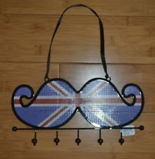 Hanging Jewelry Holder Organizer British Flag Mustache Earrings Necklace  - New