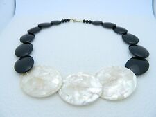 VTG Black & Ivory Colored Plastic Mother of Pearl Onlay Disc Choker Necklace