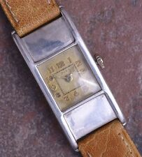 Doxa 20s Vtg Art Deco 38mm Long Engraved Curved Silver Case Serviced New Band