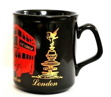 London Double Decker Bus Mug Piccadilly Circus Victoria Black Red Gold England