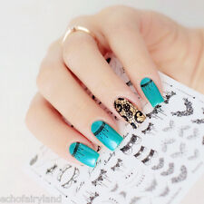 1Sheet Necklace Black Lace Image 3D Nail Art Stickers Manicure Decals Decoration