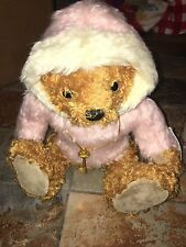 """NWT The Teddy Bear Museum """"Skater Bear"""" In Pink Fur Hoodie With Key Necklace"""