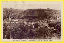 cpa 09 - STE CROIX VOLVESTRE Panorama du VILLAGE Timbre Jean de la FONTAINE