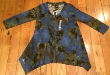 NWT Womens PREMISE Blue Green Brown Quarter Sleeve Sweater Tunic Top Size Small