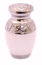 Mini Keepsake Urn Small Cremation Urn for Ashes Funeral Urn White and silver