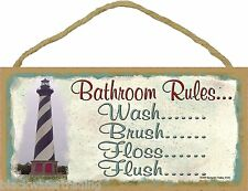 "Lighthouse Bathroom Rules Brush Flosh Flush Wash Bath Sign Plaque 5""X10"""