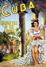 RETRO Cuba Vacanza Isle VIAGGIO VACANZE FERIE A3 arte poster stampa