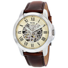 Fossil Grant Automatic Beige Skeleton Dial Brown Leather Mens Watch ME3099