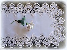 "Lace Table Runner Dresser Scarf DECADENT WHITE 71""  Doily"