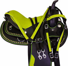 14 SYNTHETIC WESTERN BARREL RACING PLEASURE TRAIL HORSE SADDLE TACK SET