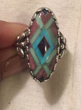 CAROLYN POLLACK RELIOS STERLING SILVER TURQUOISE INLAY RING SZ 6.5
