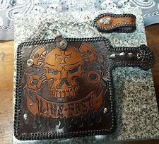 handmade custom harley biker/ trucker leather wallet