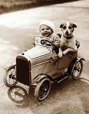 5x7 Photo Print. (23) VINTAGE TOY PEDAL CAR, BABY & DOG