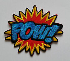 "NOVELTY CARTOON SUPERHERO ""ACTION BURST"" SEW ON / IRON ON PATCH:- POW!"
