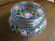 Antique Bohemian Glass Hand Painted Hair Receiver Roses Leaves