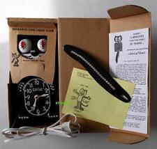 VINTAGE-ELECTRIC-BLACK JEWELED KIT CAT KLOCK-KAT CLOCK+BX-ORIGINAL MOTOR REBUILT