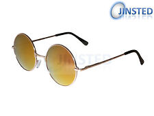 STEAMPUNK TEASHADES REVO CIRCLE SUNGLASSES ROUND RED MIRRORED GOLD SP004