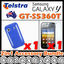 Samsung Galaxy Y GT-S5360T Telstra Blue Soft Silicone Rubber Gel Skin Case Cover