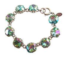 """CATHERINE POPESCO 12mm Ocean Green Swarovski Crystal Silver Bracelet 7.5"""""""