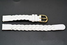 10MM WHITE BRAIDED GENUINE LEATHER WATCH BAND STRAP
