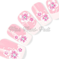 Nail Art Water Slide Decals Transfers Stickers White Pink Flowers Swirls Y139B
