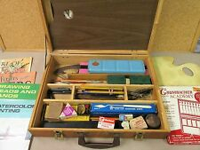 Vintage Wooden Dovetail PAINTER'S ART BOX/CASE Full: Brushes Paint Supplies more