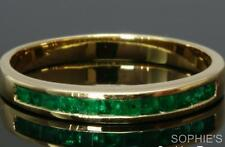 Channel Natural Princess Cut Emerald 18k Yellow Gold Anniversary Band Ring Siz W