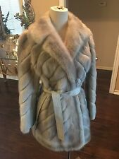 Amazing Dove Gray Mink Fur Leather Stroller Belted Coat Size 6 8 10 M L No flaws