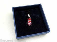 Swarovski Crystal Baby Girl Shoe Charm Silvertone Pink Rhodium Plated New In Box
