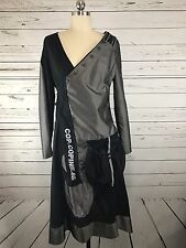 Cop Copine Black Cotton Metallic Unique Faux Wrap Dress Womens Sz 4