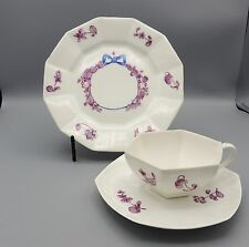 Antique La Seynie Trio Bone China P+P France Pink Floral Blue Bow Sweet