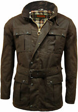 Men's Game Continental Belted Biker Wax Motorcycle Jacket Coat 100% Waxed Cotton