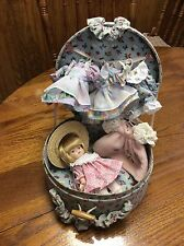 Adorable Little Cracker Barrel Doll in Floral Case with 5 Dresses