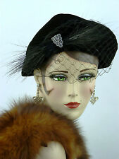 VINTAGE HAT 1940s USA, JOAL NY, SOFT VELVET DAY HAT w FEATHER VEIL & RHINESTONES