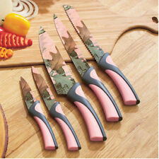 Camo Cooking Knives Pink 5 Pc Set Piece Kitchen Utensil Cutlery Knife Sure Grip