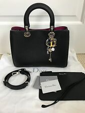 NWT Auth Christian Dior Diorissimo Black Bullcalf Leather Tote Bag Handbag $4600