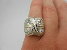 Gorgeous Large & Wide 14k Yellow Gold 2.00 Ctw Diamond X Cocktail Ring Size 7
