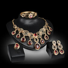 red Crystal zircon party Gold Plated Necklace Earring Bracelet Ring Jewelry Set