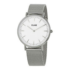 Cluse La Boheme White Dial Stainless Steel Mesh Watch CL18105