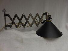 VINTAGE INDUSTRIAL Barn light  accordian arm swing  lamp Black metal shade