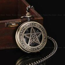 Unisex Vintage Stars Necklace Stainless Steel Wind-up Mechanical Pocket Watch