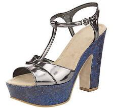 Heine High Heels Sandalette 38 LEDERFutter Plateau Taupe Metallic Jeansoptik NEU