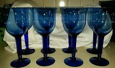 Set Of 8 Large Hand Blown Cobalt Blue Wine Goblets.... Gorgeous!