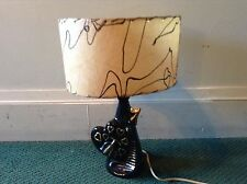 VINTAGE ART DECO SMALL BLACK & GOLD HEART LAMP WITH FIBERGLASS SHADE WORKS