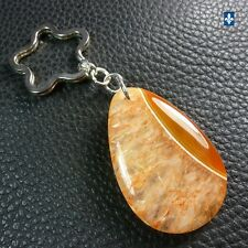 ♥ Gorgeous Light Orange Druzy & Agate Plated Silver Floral Keychain