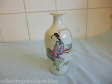 Antique Chinese Famille Rose Vase Child Offering Boat To Lady