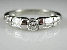 Platinum .61ctw Round Baguette Diamond Band Anniversary Ring Estate Size 6.25